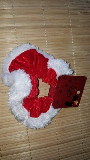 Haargummi Haarband Stoff rot weiß Weihnachten