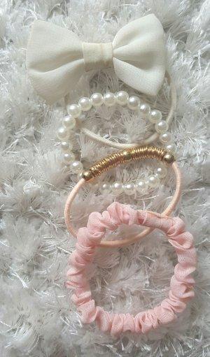 Haargummis im Set (rosa weiß)