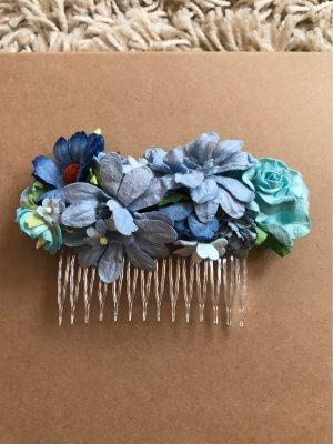 Haarkamm blaue Blüten
