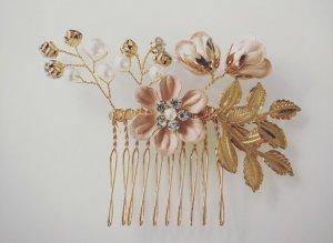 Haarkamm Gold rosa Strass Blume blüte Hochzeit Brautschmuck Brautfrisur