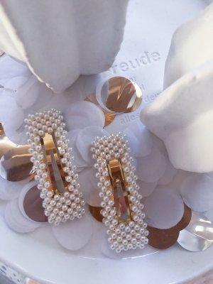 Haarklammern mit Perlen eckig (2 Stück)
