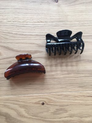 Hair Clip black-cognac-coloured