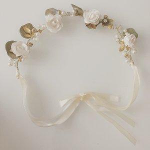 Haarkranz Blumenkranz Hochzeit Brautschmuck Haarschmuck weiß Gold Eukalyptus