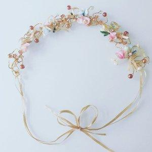 Haarkranz Blumenkranz verspielt Kupfer Gold Blume Perlen Brautschmuck Trauzeugin