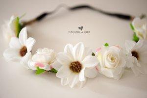 Haarkrone Blumenband haarband Blüte weiß NEU