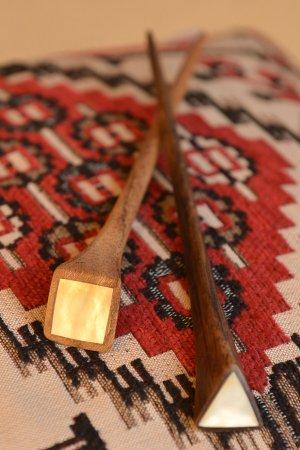 Haarnadel aus Holz Perlmutt Haarstift Holzhaarnadel Braun neuwertig