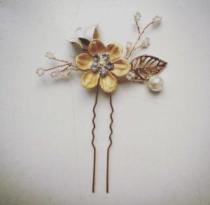 Haarnadel Brautschmuck gold weiß Haarschmuck Hochzeit Perlen Blume