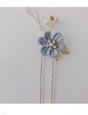 Bid Handmade Spilla per capelli blu-oro