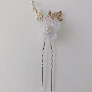 Haarnadel weiß Blüte Perle Gold Brautschmuck Hochzeit
