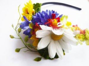 Haarreif Festival Sommer Blütenkranz Midsommar - Blütenkrone Blüten Blumen Haarreif Flower Hippie Accessoires Blumenmädchen HANDARBEIT