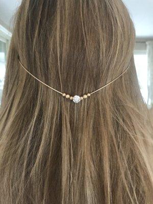 Haarreif Haarschmuck filigran Brautschmuck Hochzeit Gold mit Perle und Strass