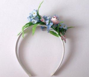 Haarreif Kopfschmuck Blumen Singvogel