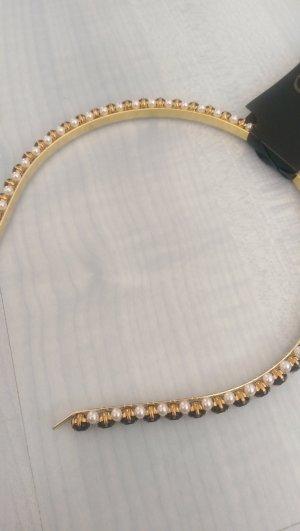 Haarreif mit Steinchen und Perlen