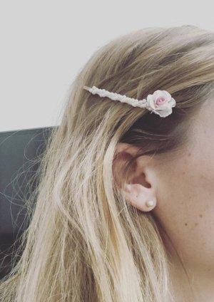 Haarschmuck Haarspange Perlen Rose Blüte Rosa weiß Brautschmuck Hochzeit Standesamt Feier