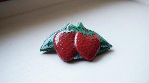 #Haarspange aus Holz, #Erdbeere, #NEU