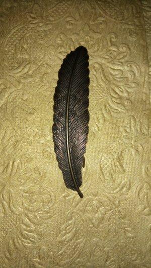 Haarspange Feder Bronze Messing Vintage Retro Antik-Stil