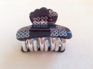Hair Clip black-silver-colored