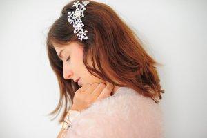 Haarspange Hochzeit Braut Diadem  Perle