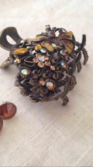 Haarspange Messing Farben Gold floral Bronze