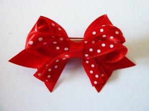 Haarspange Punkte Schleife rot weiss gepunktet Rockabilly Schmuck Polka Dots