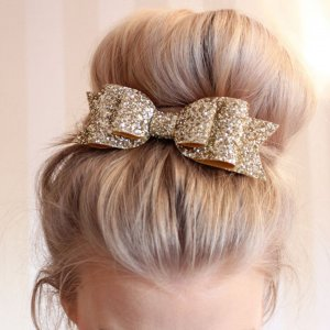Haarspange Schleife Klammer glitzer Silber