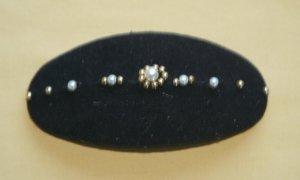 Haarspange Spange Haarschmuck Damen Mädchen Samt schwarz goldene Perle  - VINTAGE