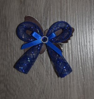 Hair Clip blue leather