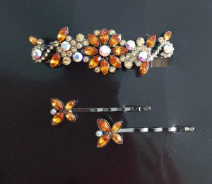 Haarspange und 2 Haarklammern in Blüten-Dekor