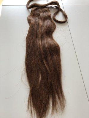Haarteil, echthaar, ponytail Mahagonibraun mit strähnigen, glatt, 63 cm