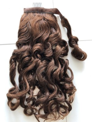 Haarteil, ponytail, Mahagoni, gelockt, echthaar, 53 cm