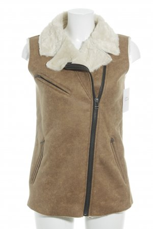 Haddudyi Gilet en fourrure marron clair-blanc cassé style simple