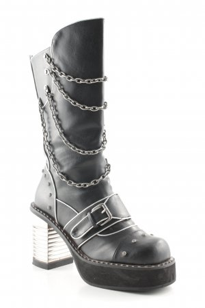 Hades Gothic Boots black-silver-colored extravagant style