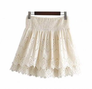 Zara Lace Skirt natural white cotton