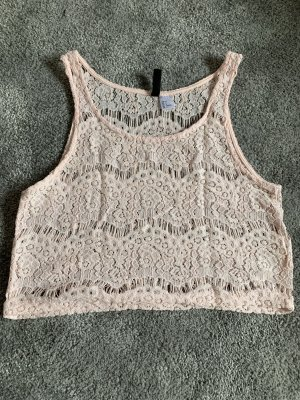 H&M Camicia cropped crema-rosa pallido