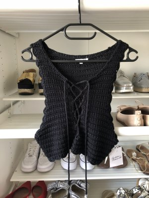 Stolen Hearts Crochet Top black