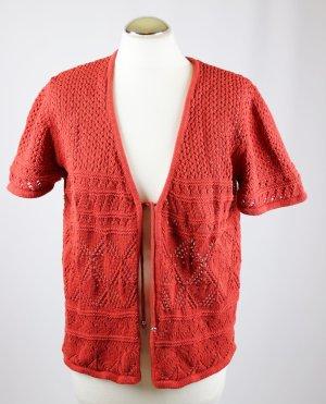 Bexleys Crochet Cardigan dark orange-russet cotton