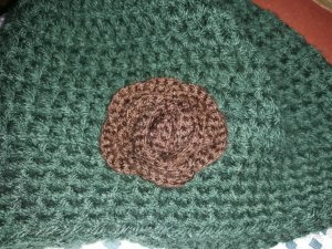 Crochet Cap brown-forest green wool