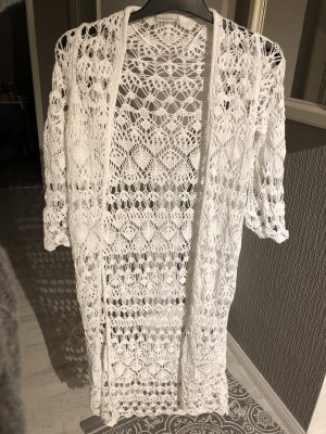 Bershka Cardigan all'uncinetto bianco