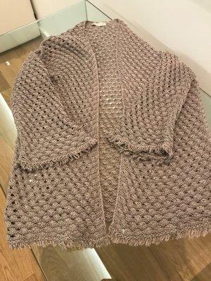 Stefanel Crochet Cardigan light brown cotton
