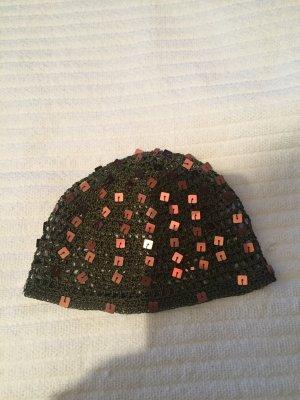 Bonnet en crochet brun noir-brun foncé