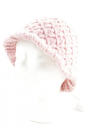 Crochet Cap pink mixed pattern casual look