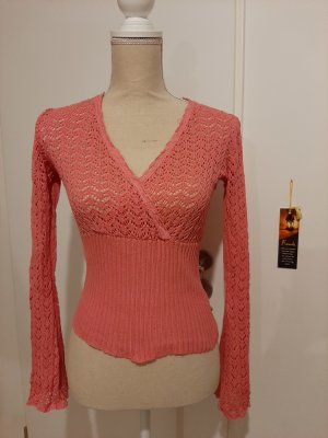 Just Woman Crochet Sweater red-pink