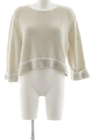 Pullover all'uncinetto bianco sporco-beige chiaro punto treccia stile casual