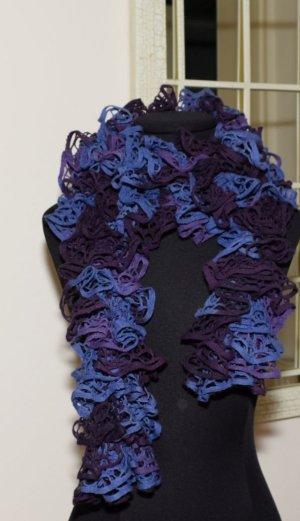 Écharpe en crochet violet foncé-bleu tissu mixte