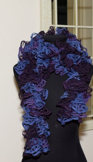 Crochet Scarf dark violet-blue mixture fibre
