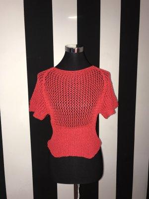 Top en maille crochet rouge
