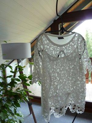 Yessica Camisa de ganchillo blanco puro Viscosa