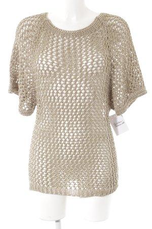 Camisa de ganchillo color oro-color plata modelo de punto flojo