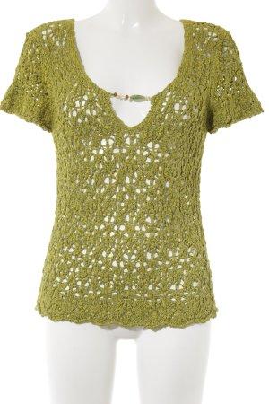 Top en maille crochet vert gazon-vert style Boho