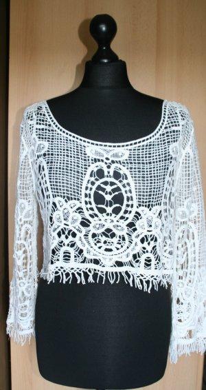 Top en maille crochet blanc coton